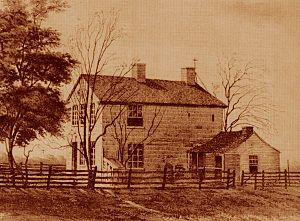 John S. Fullmer - An etching of the Cartage Jail, c. 1885, where John S. Fullmer had stayed with Joseph Smith and where Smith was killed on June 27, 1844