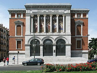 Casón del Buen Retiro - The main (east) façade and entrance, viewed from the west side of the Retiro Park, on calle Alfonso XII.