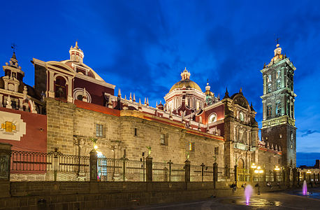 Blue-hour shot of the spectacular catholic Puebla Cathedral, build in 1649 and of Herrerian style, Puebla, Mexico.