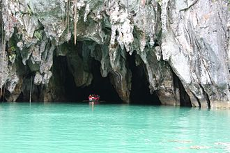Subterranean river - The Puerto Princesa cave can be entered by boat.