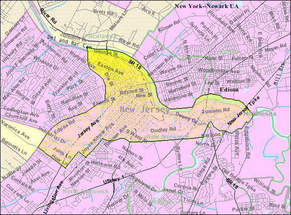 Census Bureau map of New Brunswick, New Jersey
