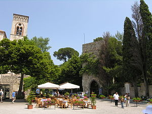 Ravello - Piazza with Villa Ruffolo's entry tower.