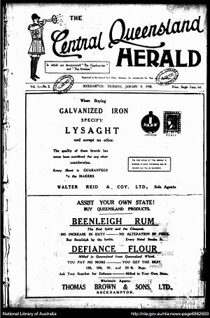 The Central Queensland Herald - Front page of the Central Queensland Herald January 9, 1930.