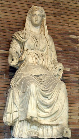 Ceres (mythology) - Seated Ceres from Emerita Augusta, present-day Mérida, Spain (National Museum of Roman Art, 1st century AD)
