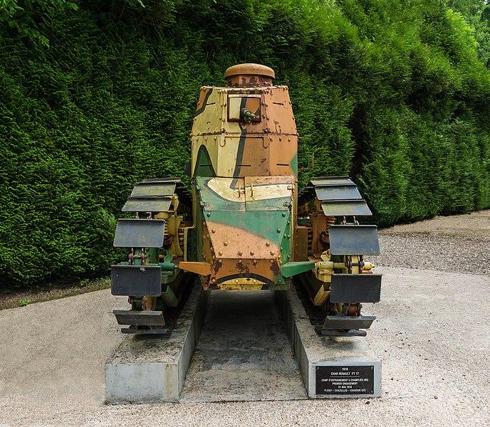 Renault FT17 tank (1918), front view, Clairière de l'Armistice, Rethondes, Oise.