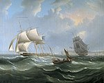 Charles John De Lacy - Stormy Sea Scene with Sailing Ships.jpg