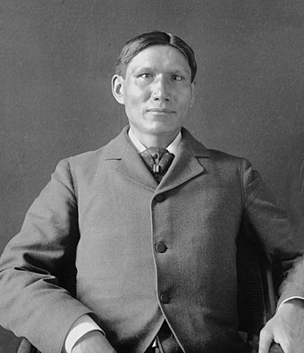 Charles Eastman was one of the first Native Americans to become certified as a medical doctor, after he graduated from Boston University. Charles eastman smithsonian gn 03462a.jpg