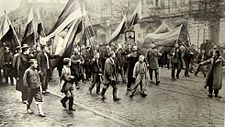 Supporters of the historic Russian far-right Black Hundreds movement marching in Odessa in 1905