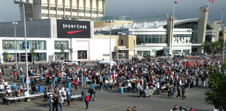 Pancake breakfast - The annual pancake breakfast at the Chinook Centre Mall in Calgary, Alberta feeds over 60,000 in one day.  The 2011 breakfast is shown.