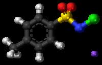 Pilk-kaj-bastona modelo de la komponentjonoj de kloramino-T