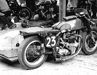 Featherbed frame - Chris Vincent's 1958 National Championship-winning NorBSA grasstrack sidecar outfit, a Manx Norton rolling chassis powered by a BSA A10 (650 cc) engine and gearbox, fitted with clip-on handlebars and rear-set foot-rests, it was also used for road racing needing only a change of tyres