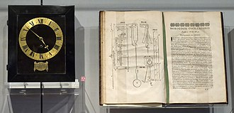 Christiaan Huygens - Spring driven pendulum clock, designed by Huygens, built by instrument maker Salomon Coster (1657), and copy of the Horologium Oscillatorium, Museum Boerhaave, Leiden