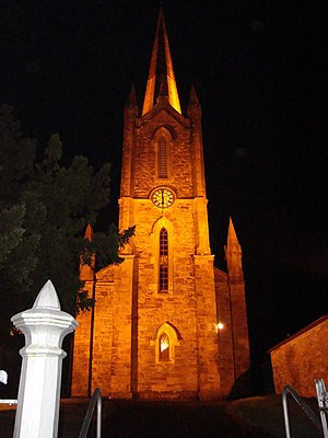 Donegal - The Church of Ireland at night in Donegal Town.