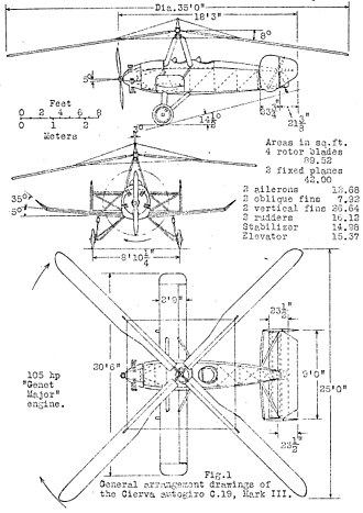 Cierva C.19 - Cierva C.19 Mk.III 3-view drawing from NACA Aircraft Circular No.120