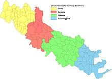 Le circoscrizioni agrarie tradizionali della Provincia di Cremona: Crema giallo, Soresina rosso, Cremona verde, Casalmaggiore blu.