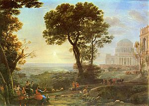 Pythia - View of Delphi with Sacrificial Procession by Claude Lorrain.