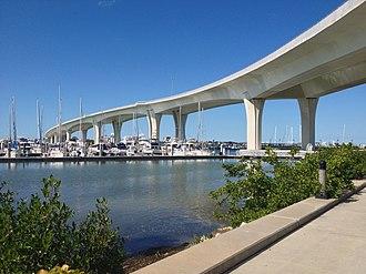 Florida State Road 60 - Clearwater Memorial Causeway Bridge viewed from the southeast corner of the bridge