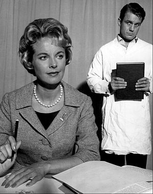 "Flowers for Algernon - Mona Freeman (Alice) and Cliff Robertson (Charlie Gordon) in ""The Two Worlds of Charlie Gordon"", a 1961 presentation of The United States Steel Hour. Robertson reprised his role in the film Charly."