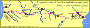 Clinton–Kalamazoo Canal - Map of proposed route of the Clinton-Kalamazoo Canal