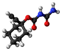 Ball-and-stick model of the clocental molecule