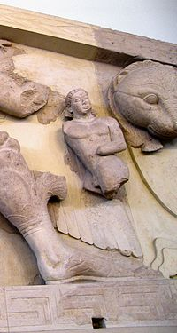 Close up of Khrysaor at the pediment of Artemis temple in Corfu.jpg