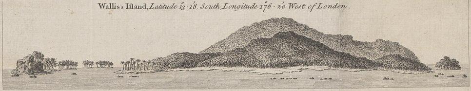 Coastal view of Wallis Island by Cook (1773)
