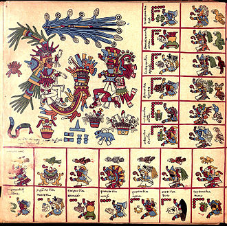Tlāhuizcalpantecuhtli - Tlahuizcalpantecuhtli (left) and Xiuhtecuhtli (right), surrounded by the signs of their trecena, on page 9 of the Codex Borbonicus. (Click to enlarge.)