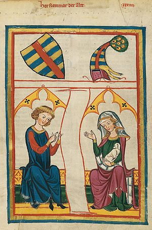 Reinmar von Hagenau - Illustration of Reinmar der Alter from the Codex Manesse (Folio 98r).