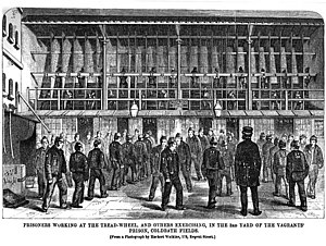 Coldbath Fields Prison - Vagrants exercising and on the treadmill.