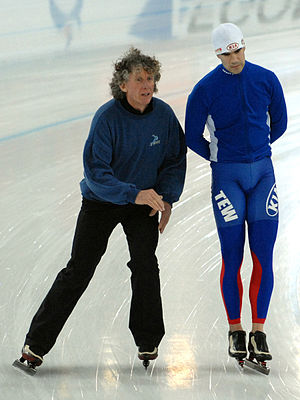 Colin Coates - Colin Coates coaching Pascal Briand at the World Allround Championships in Hamar in 2009.