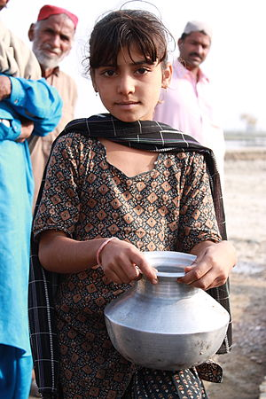 Water scarcity - In 2012 in Sindh, Pakistan a shortage of clean water led people to queue to collect it where available