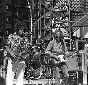 Commander Cody and His Lost Planet Airmen - Andy Stein (L) and John Tichy (R) at the Hollywood Bowl opening for Grateful Dead, July 21, 1974. The Wall of Sound PA is in the background. Photo: David Gans