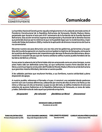Caracas drone attack - Press release from the Venezuelan Constituent National Assembly
