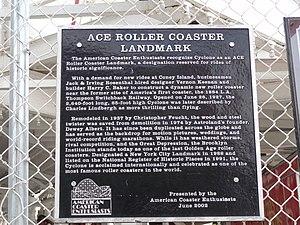 Coney Island Cyclone - ACE plaque