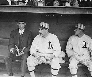 Coach (baseball) - Hall of Fame manager Connie Mack wearing a suit instead of a team uniform