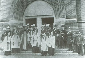 Cathedral of St Michael and St George, Aldershot - Clergy and officers at the consecration of St George's Garrison Church (1893)