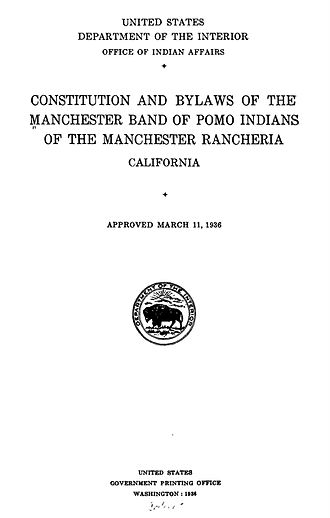 Manchester Band of Pomo Indians of the Manchester Rancheria - Constitution and By-laws