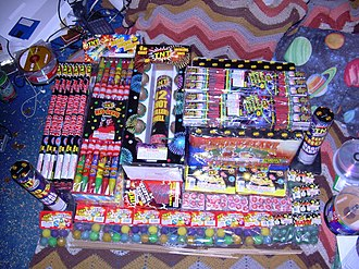 Consumer fireworks - A typical example of consumer fireworks - rockets, artillery shells, smoke balls, and others