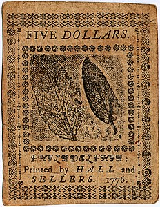 Continental Currency $5 banknote reverse (June 22, 1776).jpg