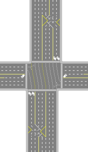 Continuous-flow intersection - Sample continuous flow intersection implemented for north/south traffic while east/west traffic has a regular left-turn lane