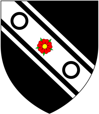 Edward Conway, 1st Earl of Conway - Arms of Conway: Sable, on a bend cotised argent a rose gules between two annulets of the first