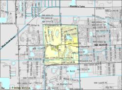 Mapa de la Oficina del Censo de EE. UU. Que muestra los límites de la CDP