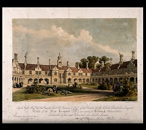 Thomas Larkins Walker - Courtyard view of the New hospital (almshouses) and grounds, Bedworth (1839), design by Thomas Larkins Walker
