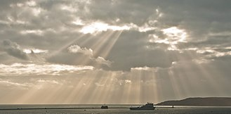 Crepuscular rays - Crepuscular rays over Plymouth Sound, UK