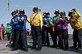 Crew members aboard USS Ronald Reagan (CVN 76) conduct aircraft firefighting training.jpg