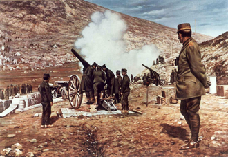 Battle of Bizani - Crown Prince Constantine watching the heavy guns shelling Bizani, by Georges Scott