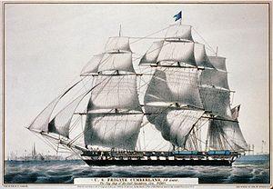USS Cumberland (1842) - Image: Cumberland frigate Currier Ives