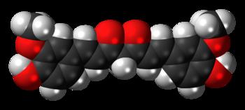 Space-filling model of the curcumin molecule, ...