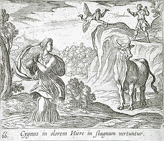 Cycnus (son of Apollo) - Cycnus and Hyrie by Wilhelm Janson and Antonio Tempesta (1606)