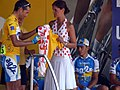 Cyril Dessel in yellow jersey receiving the combined yellow jersey-polka dot jersey (Tour de France 2006) - DSCF0999.jpg